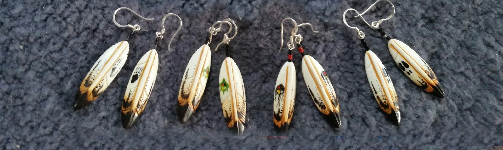 Neuway Jewelers Handmade Sterling Silver Jewelry With Real Gemstones Bone Carved Feather Jewelry